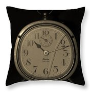 Old Westclock In Sepia Throw Pillow