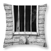 Old Western Jailhouse Window In Black And White Throw Pillow