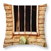 Old Western Jailhouse Window Throw Pillow