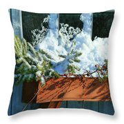 Old Window In Winter Throw Pillow by Sandra Cunningham
