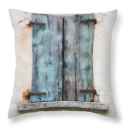 Old Window With Blue Shutte Throw Pillow