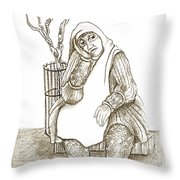 Old Woman In The Street  Sitting Near A Tree On A Bench Looking Sad And Tired Throw Pillow