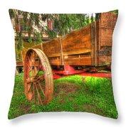 Old Wooden Cart Throw Pillow