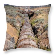 Old Wooden Water Pipeline - Rural Idaho Throw Pillow