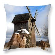 Old Wooden Windmill Throw Pillow