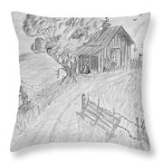 Old Woodshed II Throw Pillow by Debbie Portwood