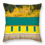 Old Yellow School House With Autumn Colors Throw Pillow