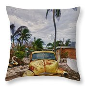Old Yellow Truck Florida Throw Pillow