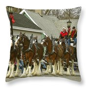 Olde Tyme Travel Clydesdales Throw Pillow