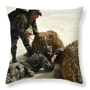 Oldier Fills In A Defensive Lining Throw Pillow