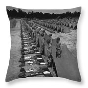 Oldiers Stand By For Inspection Throw Pillow