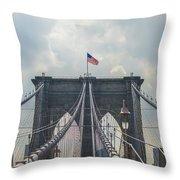 Ole Glory Over Brooklyn Bridge Throw Pillow