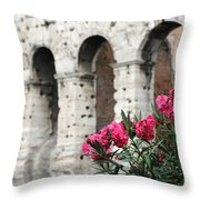 Oleander And Colosseum Throw Pillow
