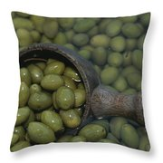 Olives Being Processed In Provence Throw Pillow