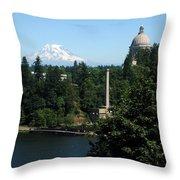 Olympia Wa Capitol And Mt Rainier Throw Pillow