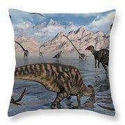 Omeisaurus And Parasaurolphus Dinosaurs Throw Pillow