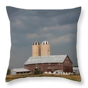 Ominous Clouds Over The Barn Throw Pillow by J McCombie