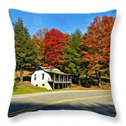 On A West Virginia Road Painted Throw Pillow