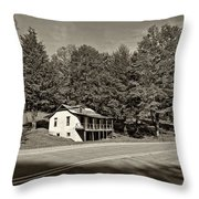 On A West Virginia Road Sepia Throw Pillow