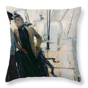 On Deck Throw Pillow by Louis Anet Sabatier