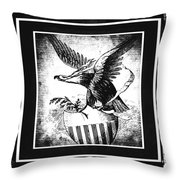 On Eagles Wings Bw Throw Pillow