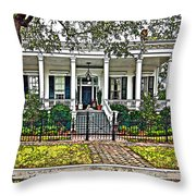 On Guard In New Orleans Painted Throw Pillow