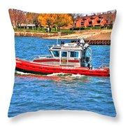 On Patrol At The Erie Basin Marina  Throw Pillow