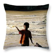 On The Bank Of The River Throw Pillow