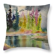 On The Colourful Pond Throw Pillow