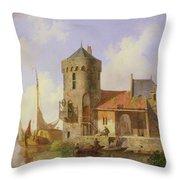 On The Rhine Throw Pillow by Cornelius Springer