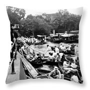 On The River Thames - Waiting For The Locks To Open - C 1902 Throw Pillow