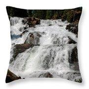 On The Rocks Glen Alpine Falls Throw Pillow