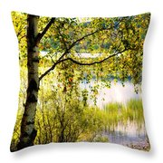 On The Shore Of The Loch Achray. Scotland Throw Pillow