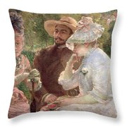 On The Terrace At Sevres Throw Pillow by Marie Bracquemond