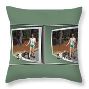 On The Trail - Gently Cross Your Eyes And Focus On The Middle Image That Appears Throw Pillow