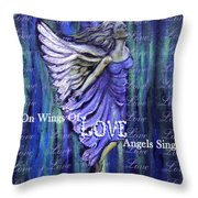On Wings Of Love Angels Sing Throw Pillow