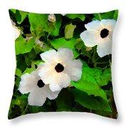 One Eye White Flower Throw Pillow