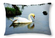 One Foot At Ease Swan Throw Pillow