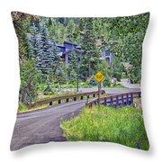 One Lane Bridge - Vail Throw Pillow