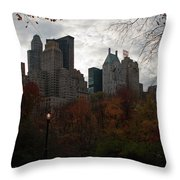 One Light On In Central Park Throw Pillow