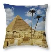 One Of The Pyramids Seen Behind An Arab Throw Pillow