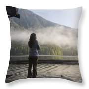 One Person, Woman, Mid Adult, 30-35 Throw Pillow