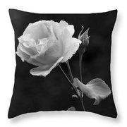One Rose In Black And White Throw Pillow