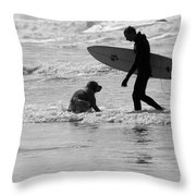 One Surfer And His Dog Throw Pillow