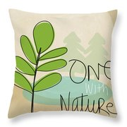 One With Nature Throw Pillow by Linda Woods
