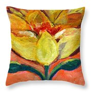 One Yellow Flower And Pinky Peach Behind Throw Pillow