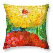 One Yellow One Red And Orange Flower Shines Throw Pillow