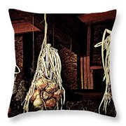 Onions Drying Throw Pillow