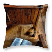 Open Book On Church Pew Throw Pillow