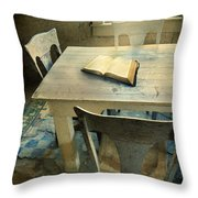 Open Book On Old Table Throw Pillow